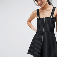 ASOS DESIGN square neck jersey romper in stripe with gold trim detail at asos.com