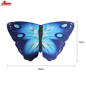 SPECIAL 120*70 Cm Animal Costumes Girls Cute Blue Butterfly Wings Mask Cape Party Fantasy Girls Dance Show Flying Cosplay