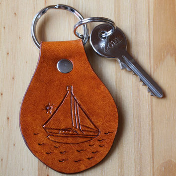 Yacht Keychain, Hand Carved Leather Key Fob, Nautical Keychain, Sail Boat Keychain, Leather Keychain, Yacht Key Fob, Tinas Leather Crafts