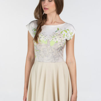 Jasmine flower - short sleeve skater dress