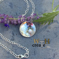 Flower and Pearl Etched Silver Pendant