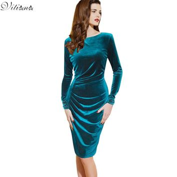 Fashion Pinup Velvet Ruched Formal Party Evening Bodycon Knee-Length O-Neck Full-Sleeve Empire Dress Maxi