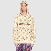 DCCKVQ8 Gucci' Women Casual Letter Flower Print Loose Long Sleeve Pullover Hooded Sweater Sweatshirt Tops