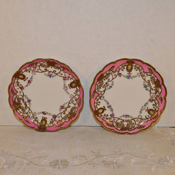 RC Nippon Pink Gold Plate Pair Vintage Moriage Bread and Butter Plates 2 Heavy Gilding Victorian Shabby Chic Roses Small Plates
