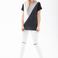 FOREVER 21 Geo Colorblocked Tee Black/Grey