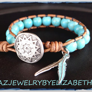 Turquoise Bracelet, Native American, Southwestern Jewelry, Wrap Bracelet, Turquoise Wrap, Gemstone Wrap, Beaded Bracelet, Indian Jewelry.