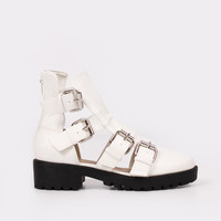 Ruthless Buckle Boots - White
