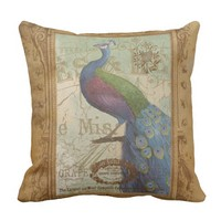 Vintage Peacock Brown Antique Paper OUTDOOR Pillow
