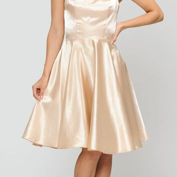 Gold A-Line Homecoming Short Dress Criss-Cross Lace-Up Back
