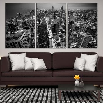 30268 - Chicago Wall Art Canvas Print - Extra Large Chicago City Night Canvas Print