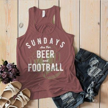 Women's Football Tank Sundays Are For Tshirt Football Beer Shirts Vintage Graphic Top