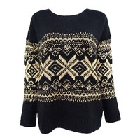Woven Metallic Snowflake and Geometric Jacquard Sweater for Women