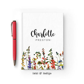 Personalized Journal, Custom Floral Notebook, Writing Journal, Personalized Floral Name Book, Wildflowers, Sketchbook, Blank or Lined pages