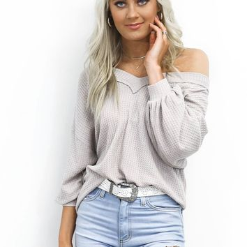 A Clue Light Gray Cross Back Top