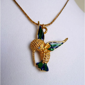 Vintage Gold Hummingbird Pendant Necklace with Rhinestone Eye Detail, Emerald Green and Royal Blue Wings and Tail, Unsigned, N059