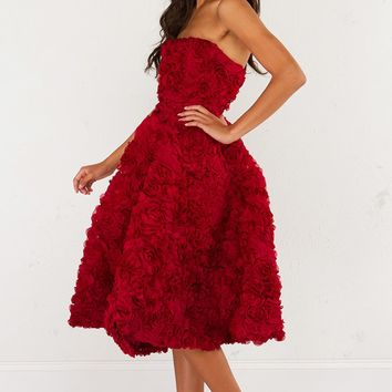 AMMO Special Occasion strapless floral party dress in Black, Burgundy and baby Pink.