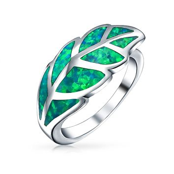 Boho Statement Green Created Opal Inlay Leaf Ring 925 Sterling Silver