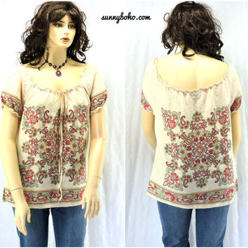 Linen boho top / blouse XL cream peasant paisley top boho hippie linen tunic smock top SunnyBohoVintage