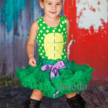 Halloween Green Pettiskirt Tutu Turtle Ninja Polka Dots Tee Party Dress Costume and Headband