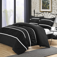 Chic Home Besily Black 7-piece Bedding Ruffled Duvet Cover Set King size