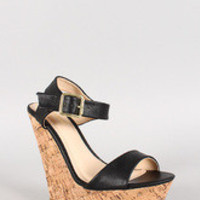 Women's Bamboo Leatherette Two Band Cork Platform Wedge
