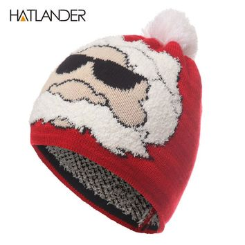 Christmas hat winter crochet knitted hats outdoor warm men women red bonnet cap for kids