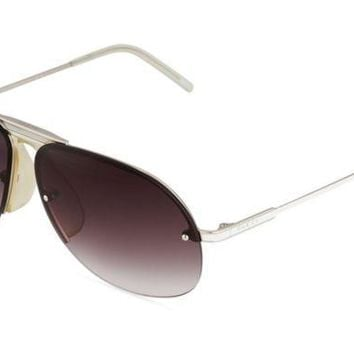 ICIK3SY GUCCI WOMEN'S TWO TONE AVIATOR SUNGLASSES, WHITE WITH BLACK LENSES