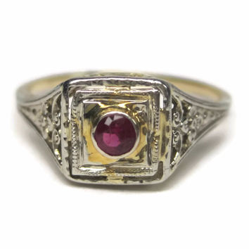 Vintage 14K Two Tone Filigree Ruby Engagement Ring Size 5