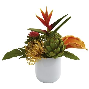 SheilaShrubs.com: Tropical Floral Arrangement w/White Glass Vase 4820 by Nearly Natural : Artificial Flowers & Plants