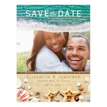Vintage Tropical Beach Starfish Save the Date Postcard