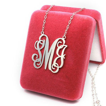 Artistic monogram necklace -personalized 3 initial nameplate necklace jewelry