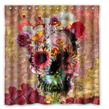 "60""x 72"" Flower Skull Shower Curtain"