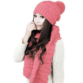 LMF9GW 2016 Luxury Brand  Winter Hat With Ear Scarf Cute Knit Crochet Beanies Cap Thickening Hats For Women Warm Scarf And Hat  LB