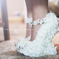 Rose Petal Wedge wedding  shoes