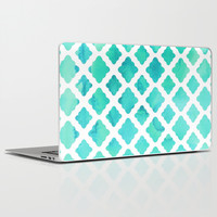 Watercolor Mint Diamonds Laptop & iPad Skin by Micklyn