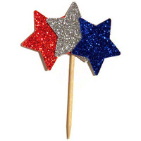 Patriotic Cupcake Toppers - Star Food Picks - July 4th Party Decor - One Dozen