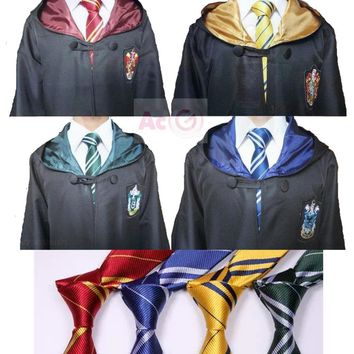 Cool Harri Potter Robe Cape Cloak Gryffindor/SlytherinRavenclaw/Hufflepuff Robe Cosplay Costumes Kids Adult Children's Day GiftAT_93_12
