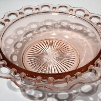 "Hocking Glass Pink Depression Glass Bowl Old Colony Open Lace or Lace Edge Pattern, Old Colony Open Lace 9 1/2"" Bowl Pink Depression Glass."