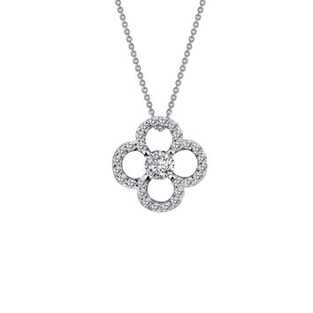 Lafonn Classic Sterling Silver Platinum Plated Lassire Simulated Diamond Necklace (0.29 CTTW)