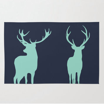 Deer Rug, Nursery Rug, Antler Rustic Decor, Woodland Rug