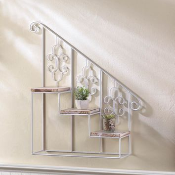 Wall Shelf Display-White Iron Staircase