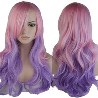 S-noilite Ombre Cosplay Hair Wig Women Long Wavy Rainbow Colorful Anime Costume Dresses Full Wigs (60cm Curly, Pink Purple Mixed)