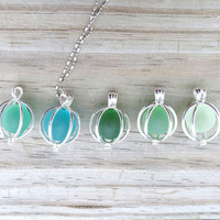 Marble Sea Glass Necklace Pick Your Color