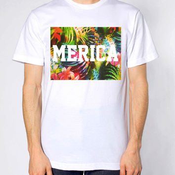 MERICA Tropical Print Unisex Silk Screen T-shirt