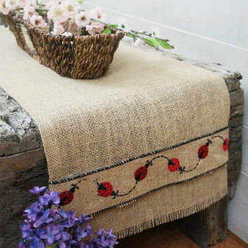 Burlap Table Runner with Ladybug Embroidered Ribbon, Spring Summer Table Runner, Lady Bug Decor, Custom Length Available