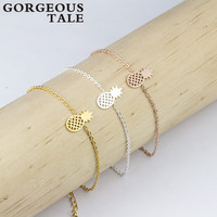 GORGEOUS TALE Trendy Stainless Steel Gold Silver Chain Charm Pineapple Bracelet Women Men's Rose Gold Bracelet New Arrival 2017