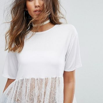 PrettyLittleThing Lace Hem Oversized T-Shirt at asos.com