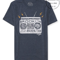 Aeropostale Mens Brooklyn Calling Boombox Graphic T-Shirt - Blue,