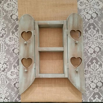 Heart Shelf, Country Shelf, Shabby Chic Shelf with Doors & Pegs, Annie Sloan Duck Egg Chalk Painted Shelf, Wall Hanging Shelf, Display Shelf
