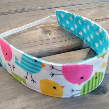 Child reversible headband - Robert Kaufman birds dots blue pink white green yellow cotton toddler baby girl - Bandeau - Ready to ship